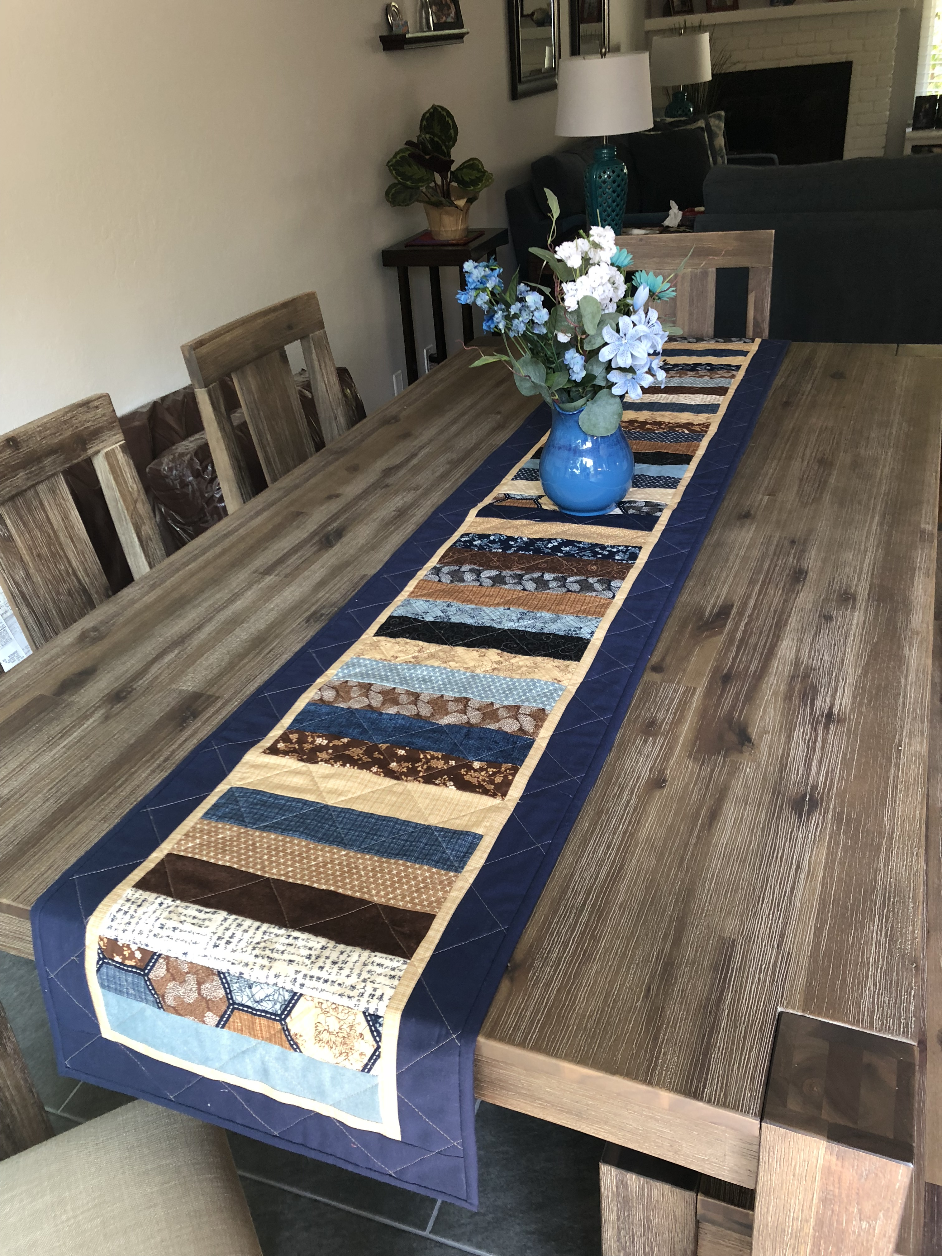 I Wanted It To Fall Over Each End Of My Dining Room Table. The Inner Border  Is 1u2033 Strips Cut From One Of The Fabrics. The Outer Border And Binding Are  From ...
